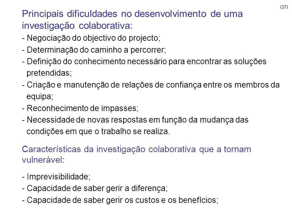 GTI Principais dificuldades no desenvolvimento de uma investigação colaborativa: - Negociação do objectivo do projecto;