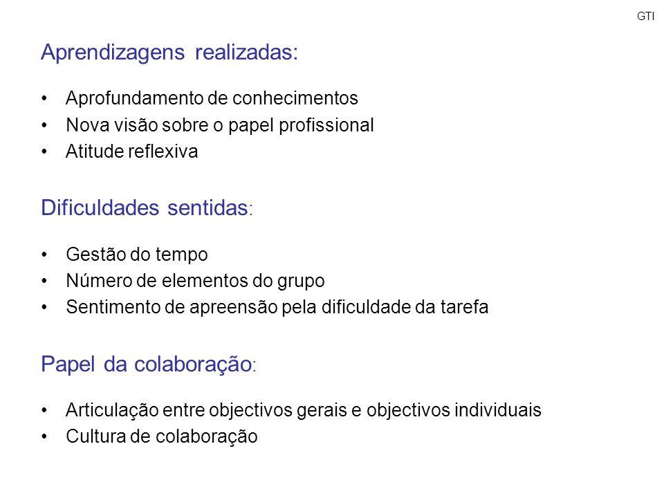 Aprendizagens realizadas: