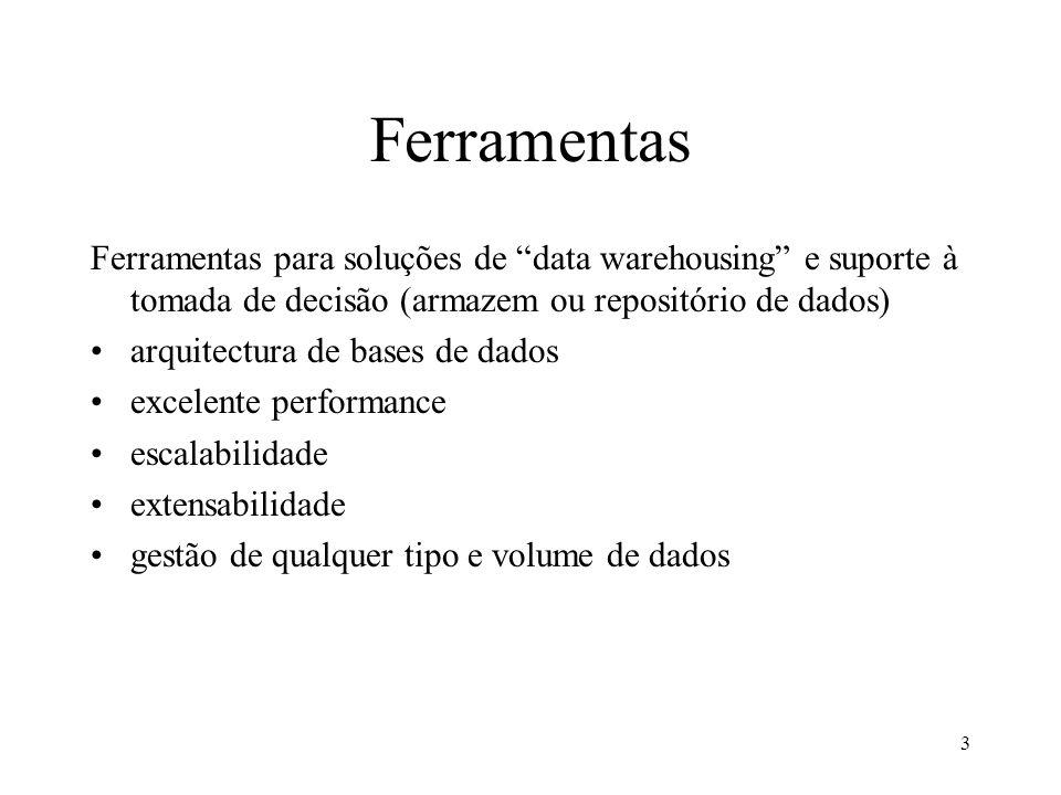 Ferramentas Ferramentas para soluções de data warehousing e suporte à tomada de decisão (armazem ou repositório de dados)