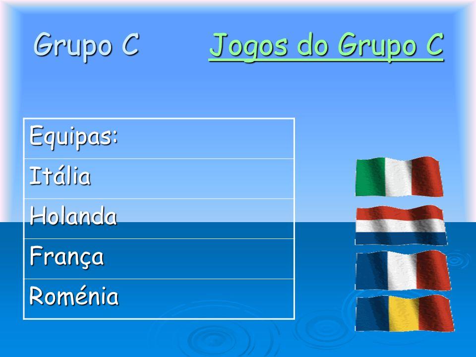 Grupo C Jogos do Grupo C Equipas: Itália Holanda França Roménia