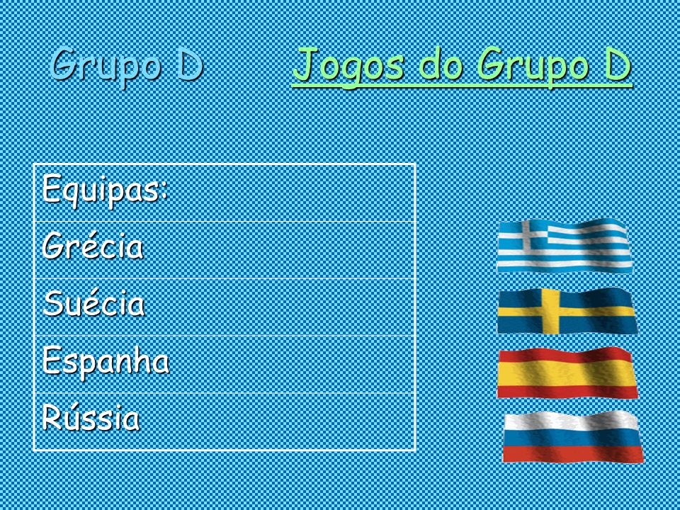 Grupo D Jogos do Grupo D Equipas: Grécia Suécia Espanha Rússia