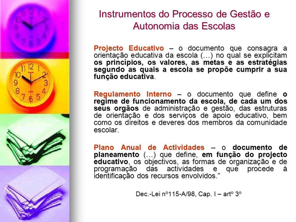 Instrumentos do Processo de Gestão e Autonomia das Escolas