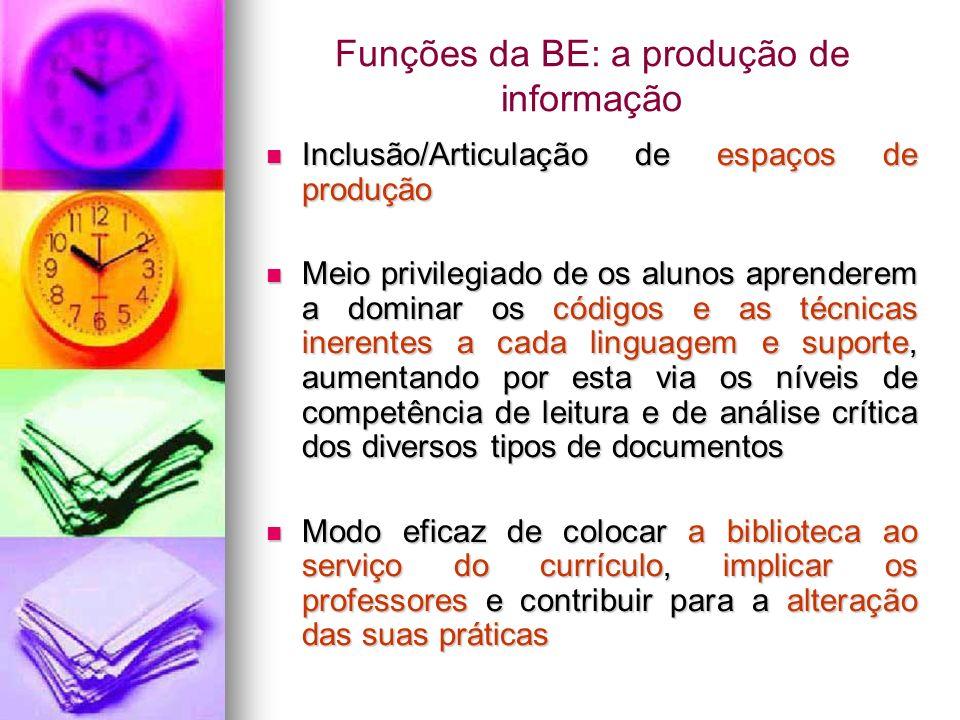 Funções da BE: a produção de informação