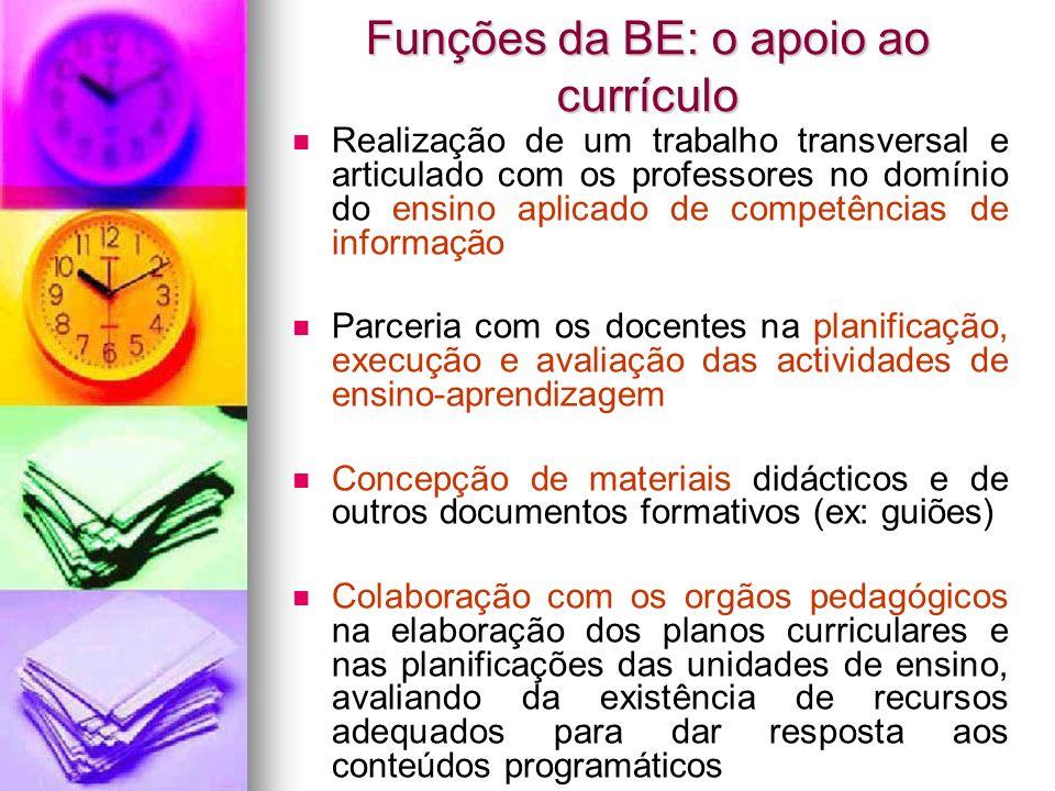 Funções da BE: o apoio ao currículo