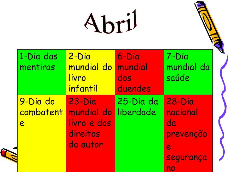 Abril 1-Dia das mentiras 2-Dia mundial do livro infantil