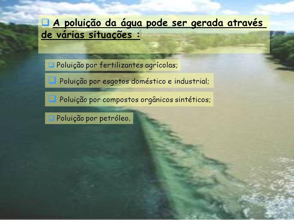 A poluição da água pode ser gerada através de várias situações :