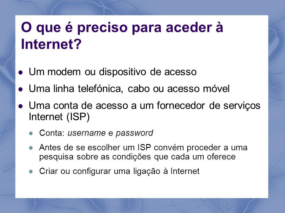 O que é preciso para aceder à Internet