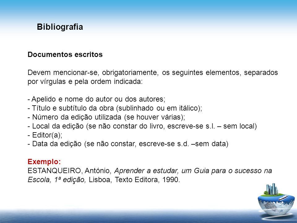 Bibliografia Documentos escritos