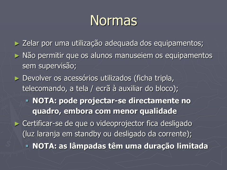 Normas Zelar por uma utilização adequada dos equipamentos;