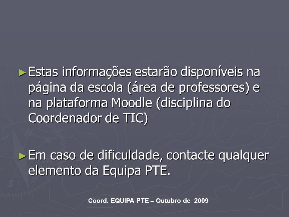 Em caso de dificuldade, contacte qualquer elemento da Equipa PTE.