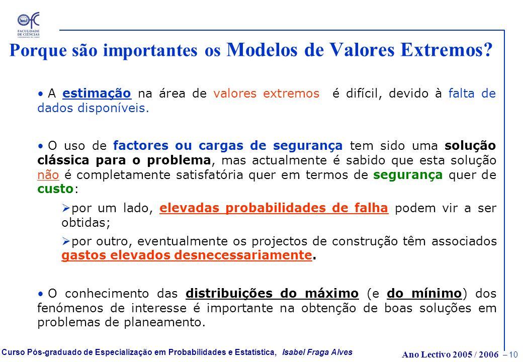 Porque são importantes os Modelos de Valores Extremos
