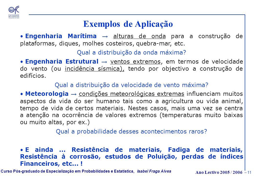 Exemplos de Aplicação Engenharia Marítima → alturas de onda para a construção de plataformas, diques, molhes costeiros, quebra-mar, etc.