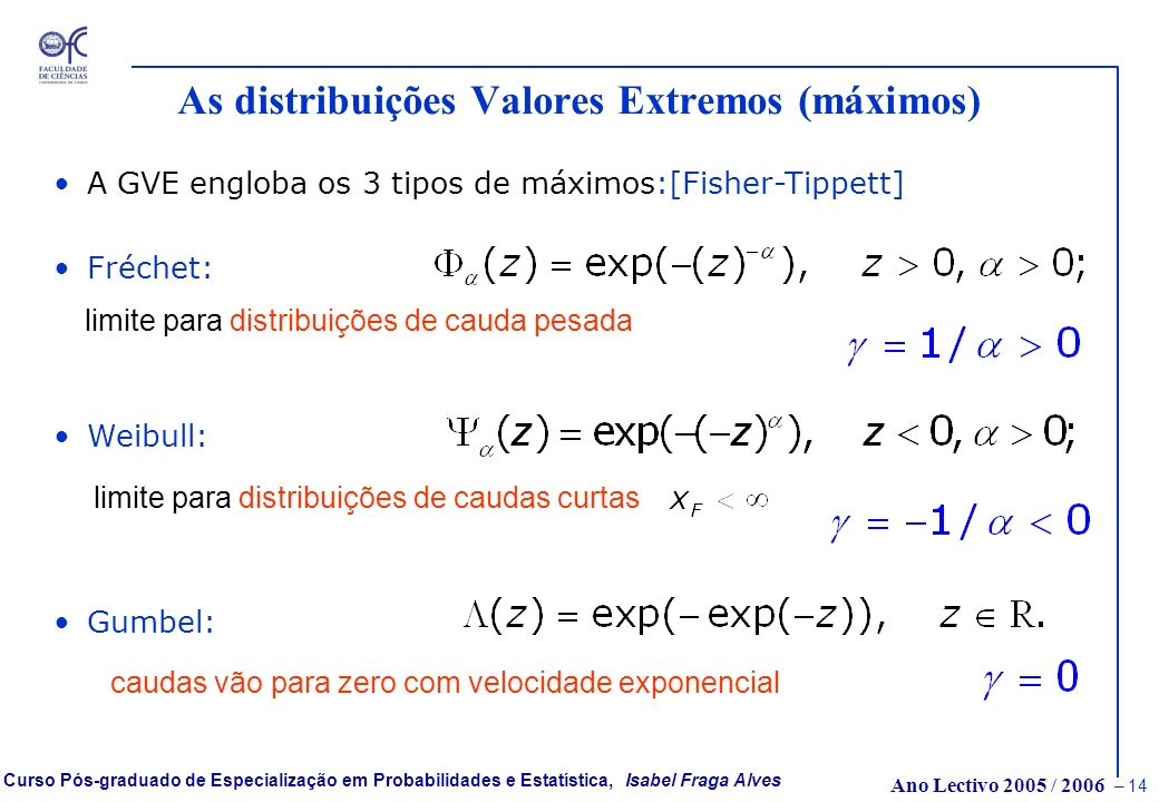As distribuições Valores Extremos (máximos)