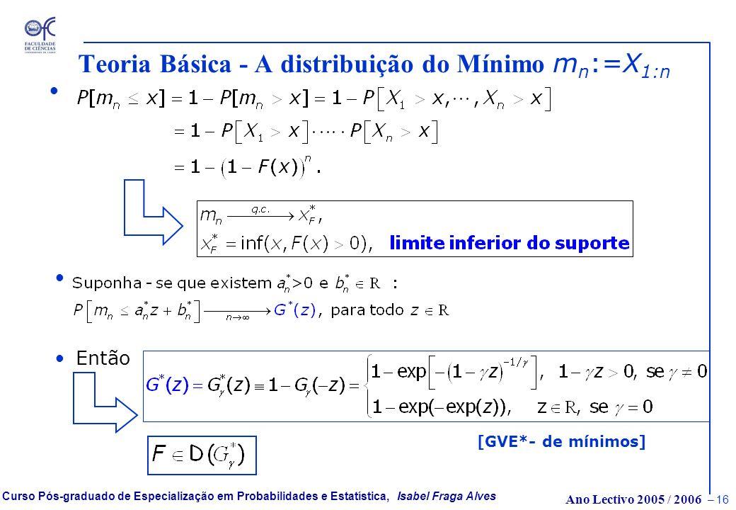 Teoria Básica - A distribuição do Mínimo mn:=X1:n