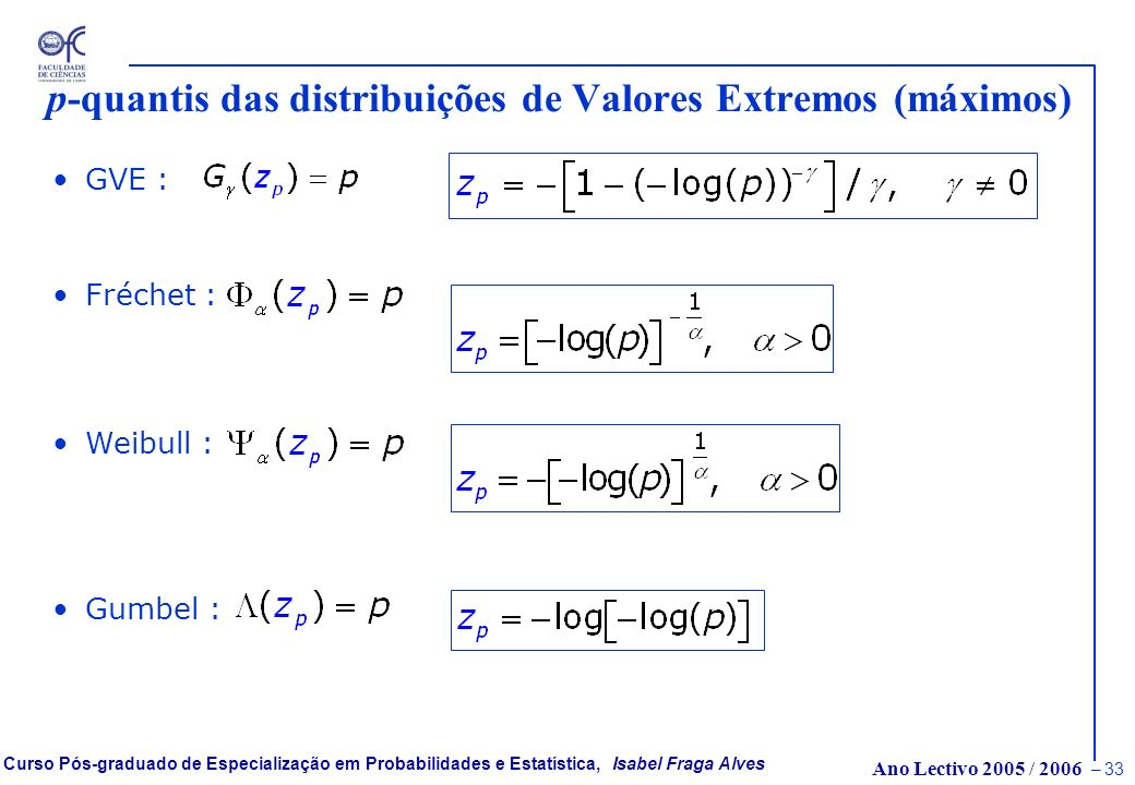 p-quantis das distribuições de Valores Extremos (máximos)