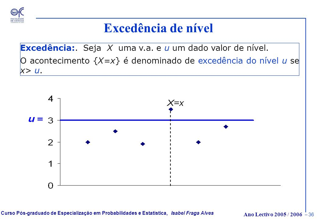 Excedência de nível Excedência:. Seja X uma v.a.