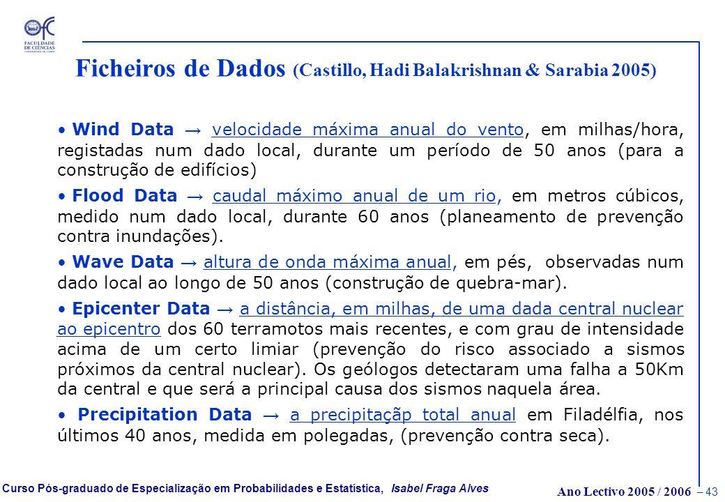 Ficheiros de Dados (Castillo, Hadi Balakrishnan & Sarabia 2005)