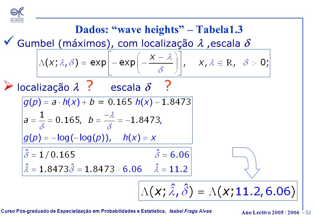 Dados: wave heights – Tabela1.3