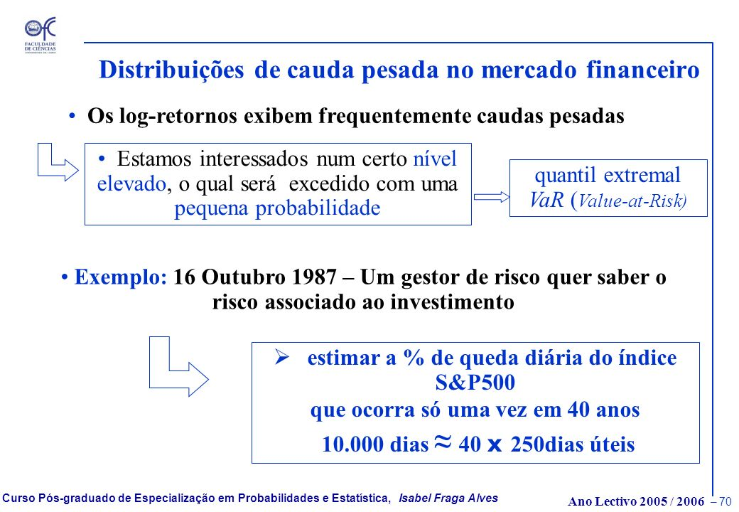 Distribuições de cauda pesada no mercado financeiro