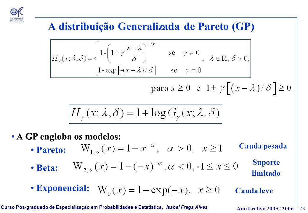 A distribuição Generalizada de Pareto (GP)