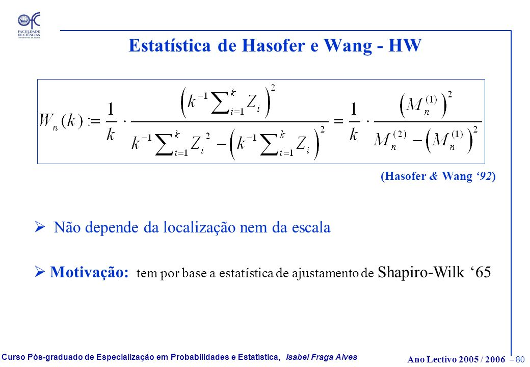 Estatística de Hasofer e Wang - HW