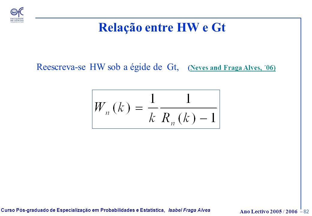 Relação entre HW e Gt Reescreva-se HW sob a égide de Gt, (Neves and Fraga Alves, ´06)