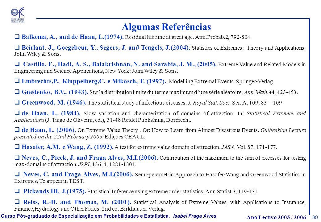 Algumas Referências Balkema, A., and de Haan, L.(1974). Residual lifetime at great age. Ann.Probab.2, 792-804.