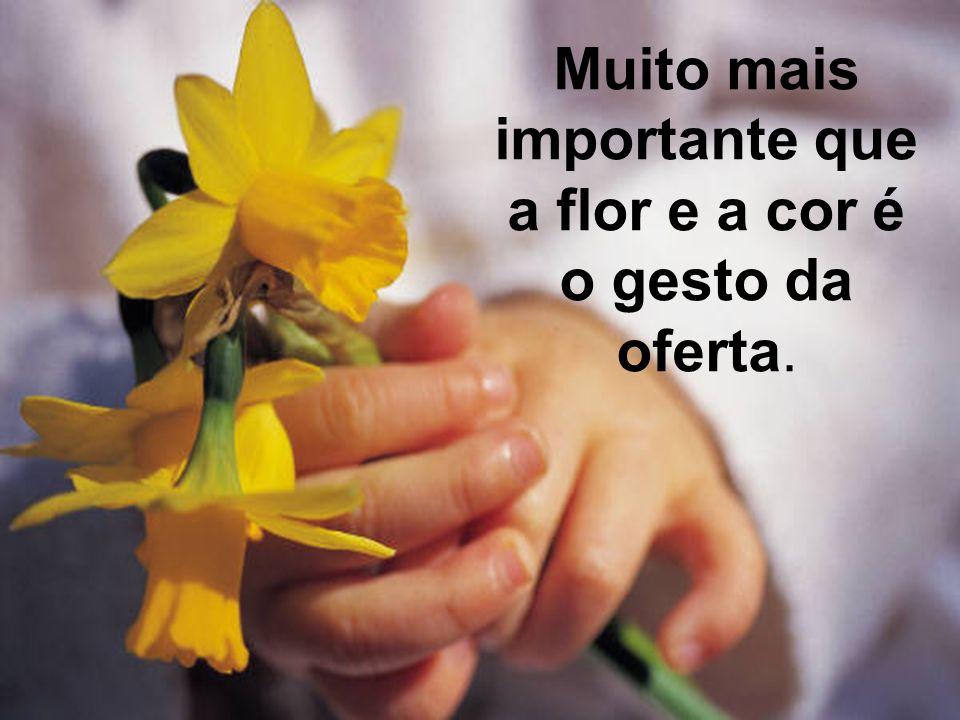 Muito mais importante que a flor e a cor é o gesto da oferta.