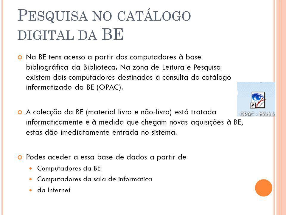 Pesquisa no catálogo digital da BE