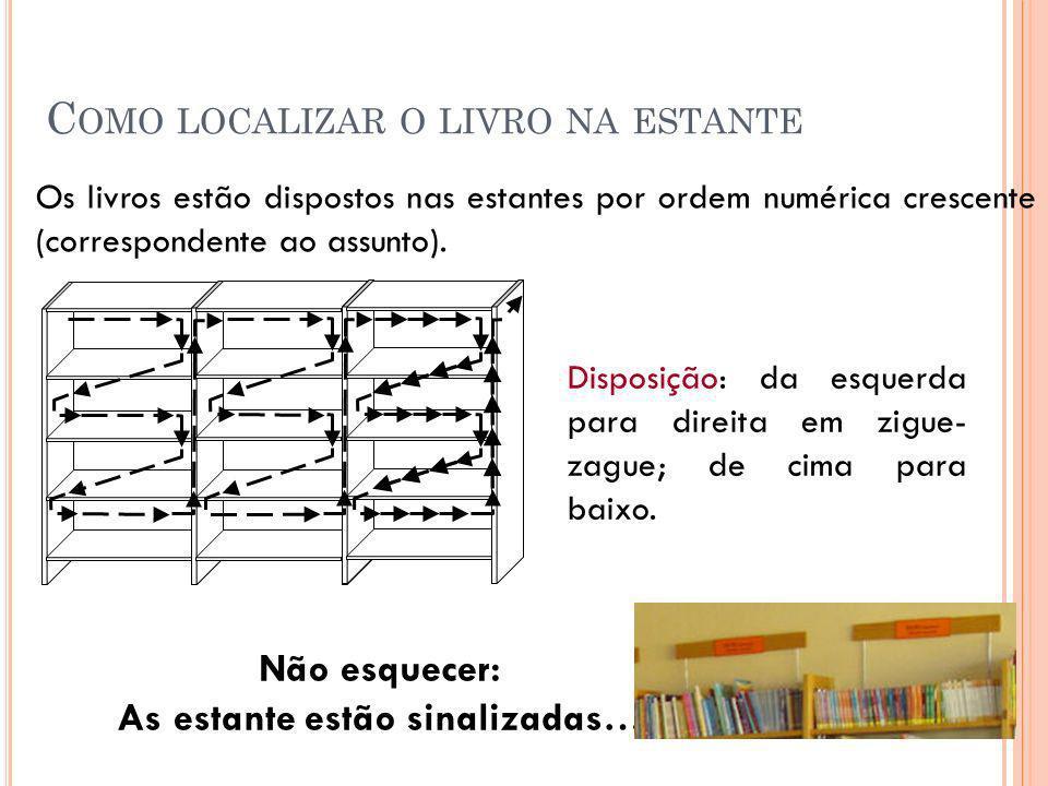 Como localizar o livro na estante
