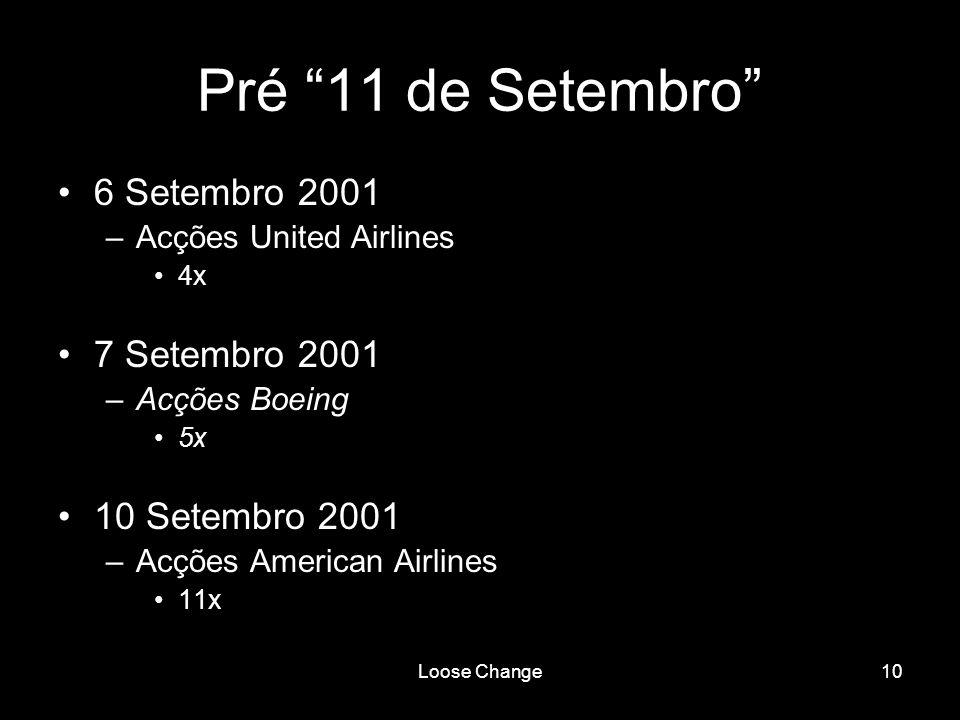 Pré 11 de Setembro 6 Setembro 2001 7 Setembro 2001 10 Setembro 2001
