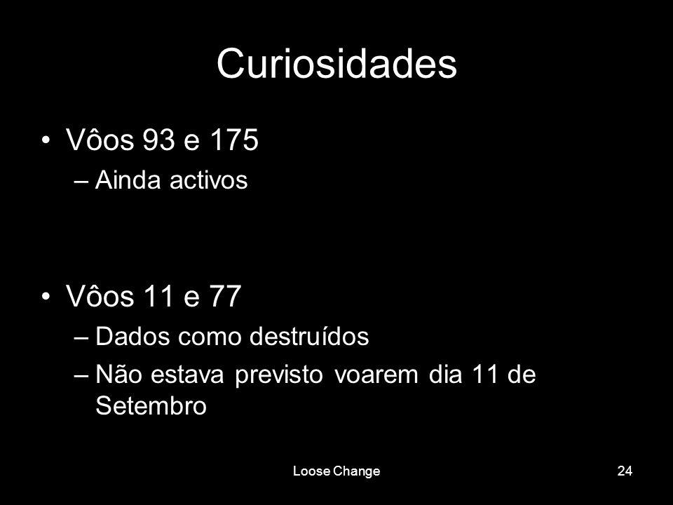 Curiosidades Vôos 93 e 175 Vôos 11 e 77 Ainda activos