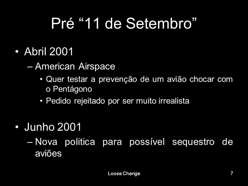 Pré 11 de Setembro Abril 2001 Junho 2001 American Airspace