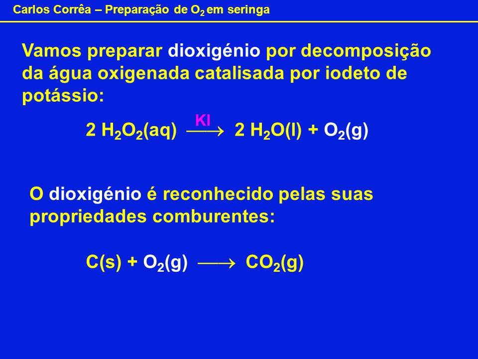 O dioxigénio é reconhecido pelas suas propriedades comburentes: