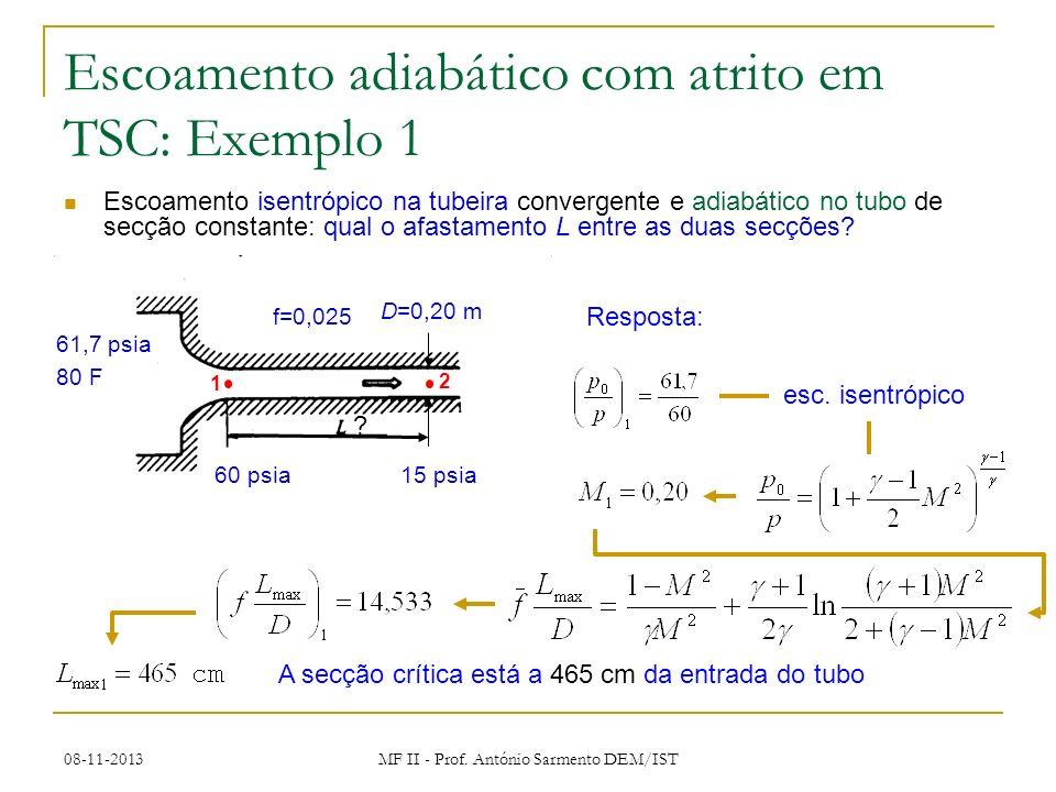 Escoamento adiabático com atrito em TSC: Exemplo 1