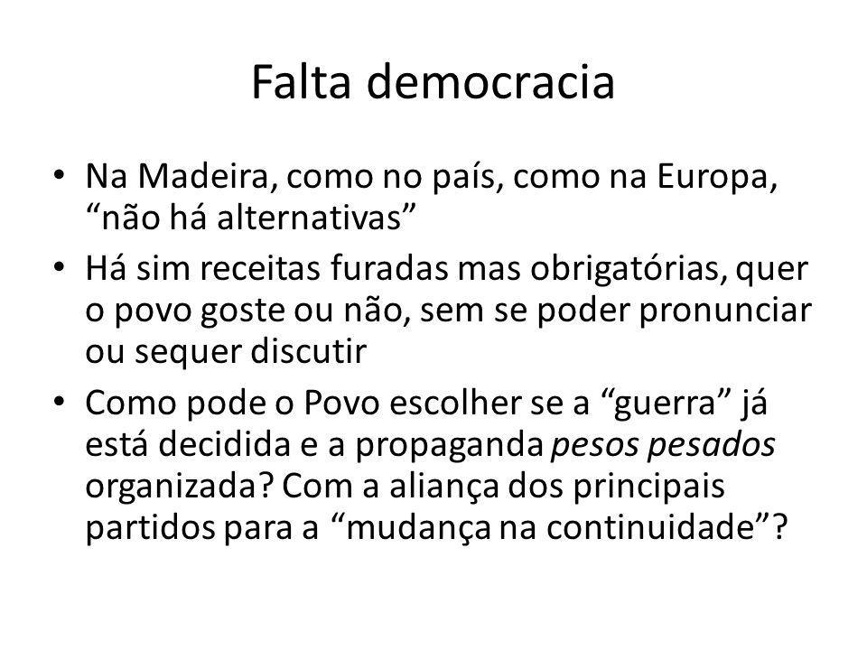 Falta democracia Na Madeira, como no país, como na Europa, não há alternativas