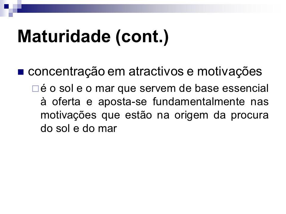 Maturidade (cont.) concentração em atractivos e motivações