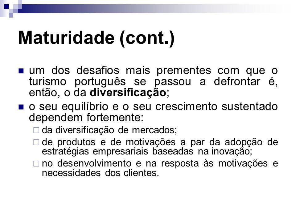 Maturidade (cont.) um dos desafios mais prementes com que o turismo português se passou a defrontar é, então, o da diversificação;