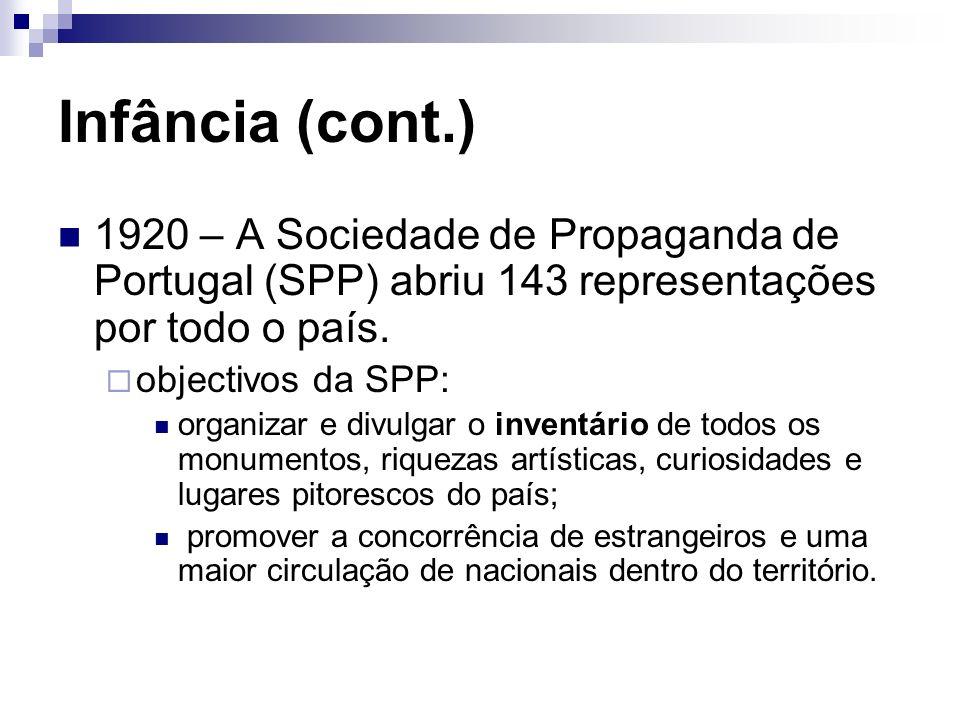 Infância (cont.) 1920 – A Sociedade de Propaganda de Portugal (SPP) abriu 143 representações por todo o país.