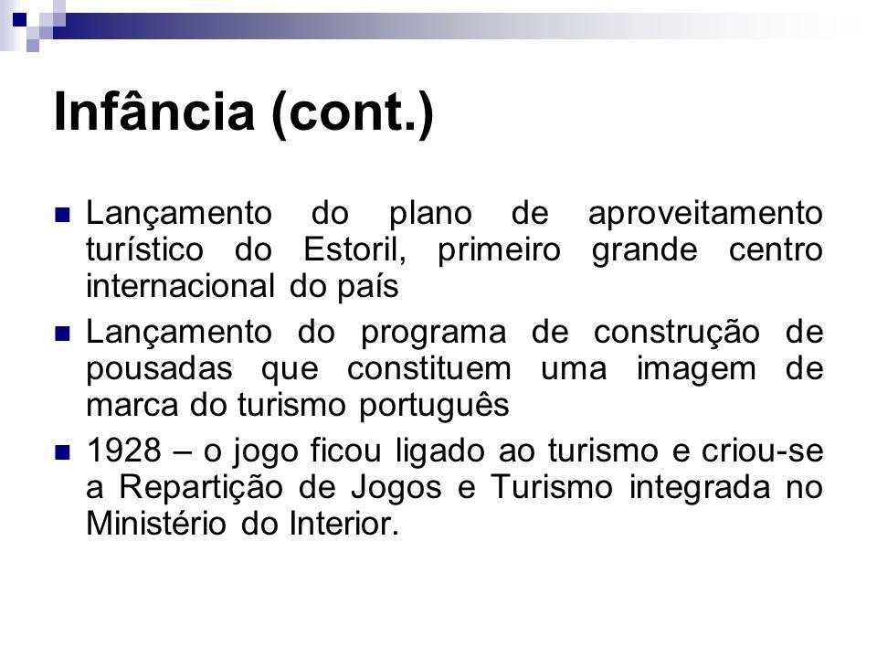 Infância (cont.) Lançamento do plano de aproveitamento turístico do Estoril, primeiro grande centro internacional do país.