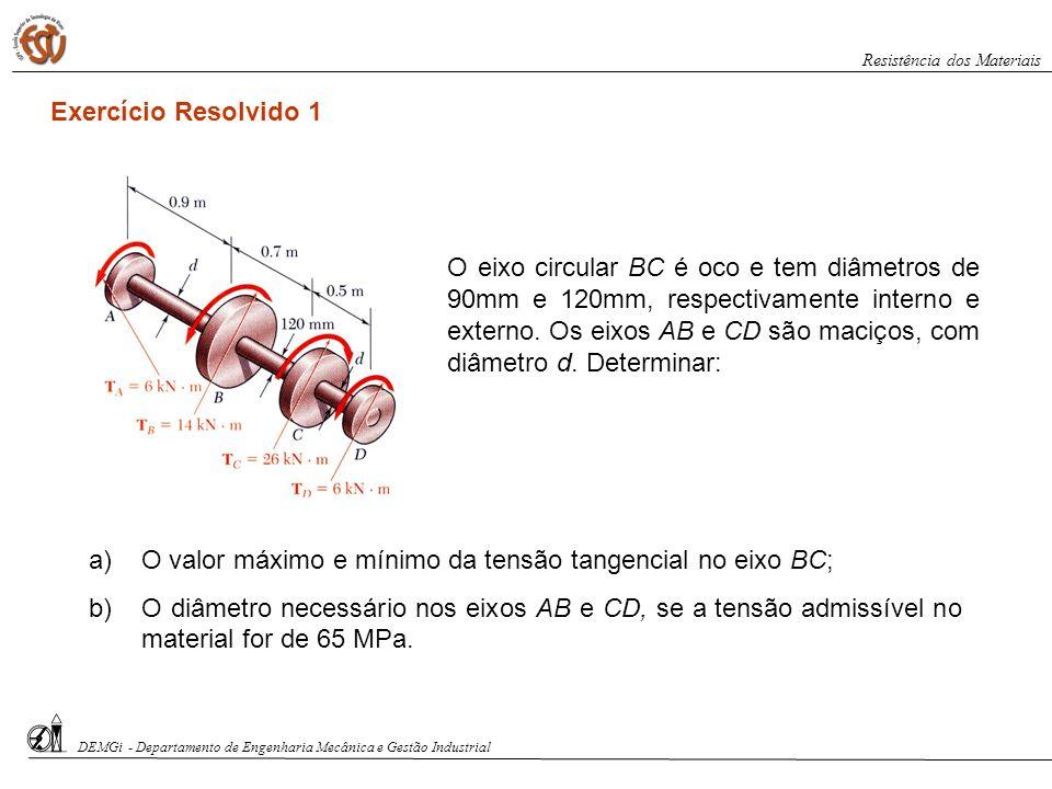 O valor máximo e mínimo da tensão tangencial no eixo BC;