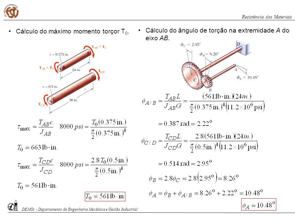 Cálculo do máximo momento torçor T0.