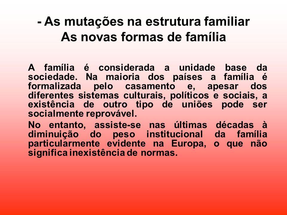 - As mutações na estrutura familiar As novas formas de família