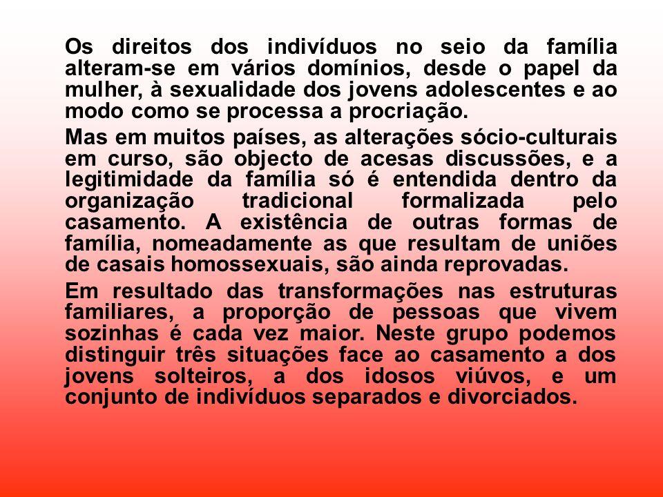 Os direitos dos indivíduos no seio da família alteram-se em vários domínios, desde o papel da mulher, à sexualidade dos jovens adolescentes e ao modo como se processa a procriação.