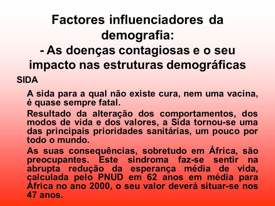 Factores influenciadores da demografia: - As doenças contagiosas e o seu impacto nas estruturas demográficas