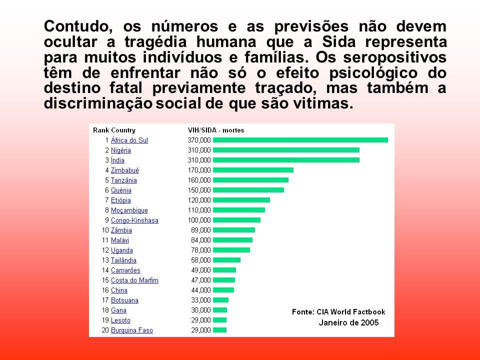 Contudo, os números e as previsões não devem ocultar a tragédia humana que a Sida representa para muitos indivíduos e famílias.