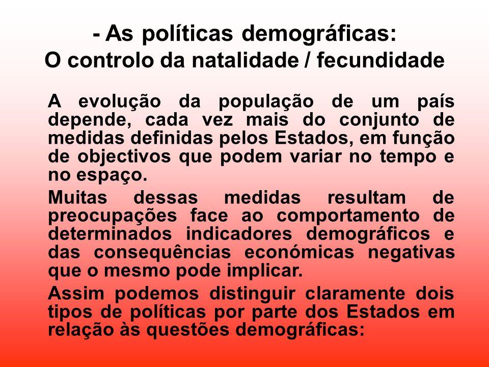 - As políticas demográficas: O controlo da natalidade / fecundidade