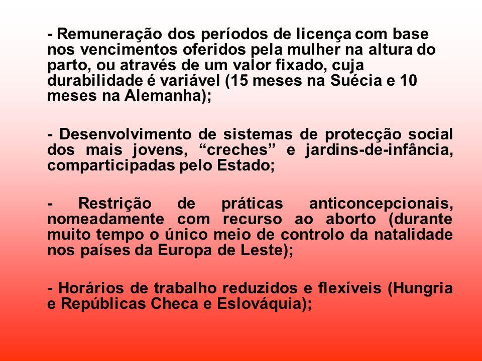 - Remuneração dos períodos de licença com base nos vencimentos oferidos pela mulher na altura do parto, ou através de um valor fixado, cuja durabilidade é variável (15 meses na Suécia e 10 meses na Alemanha);