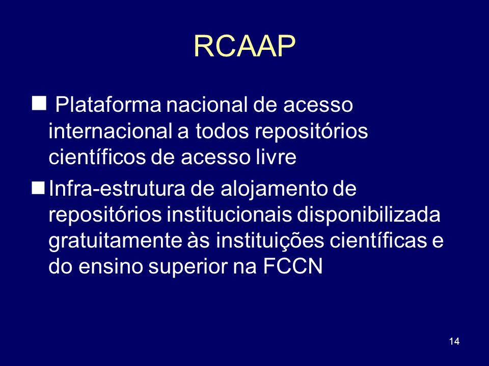 RCAAP Plataforma nacional de acesso internacional a todos repositórios científicos de acesso livre.