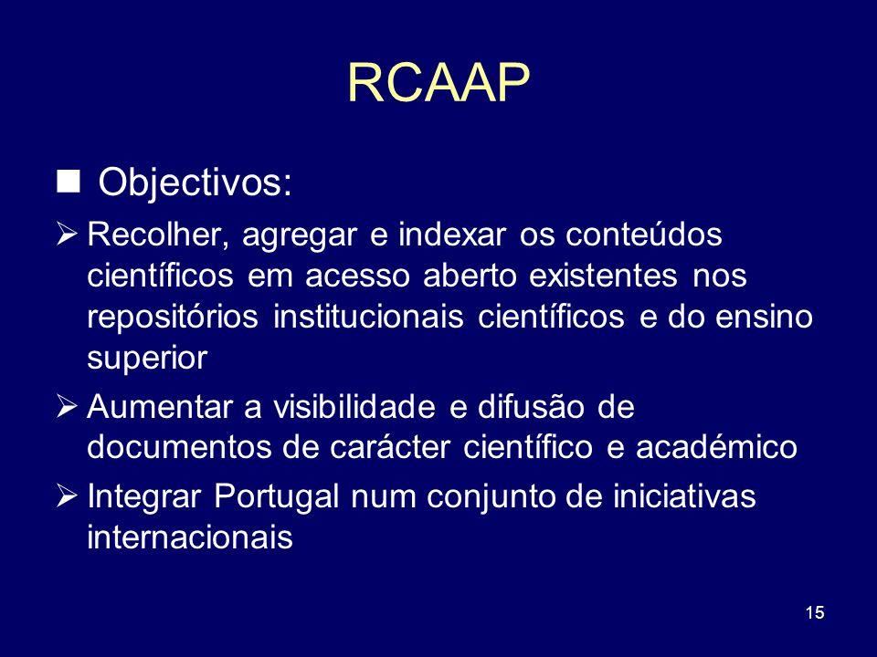 RCAAP Objectivos: